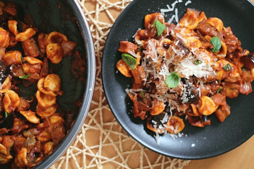 aubergine recept pasta
