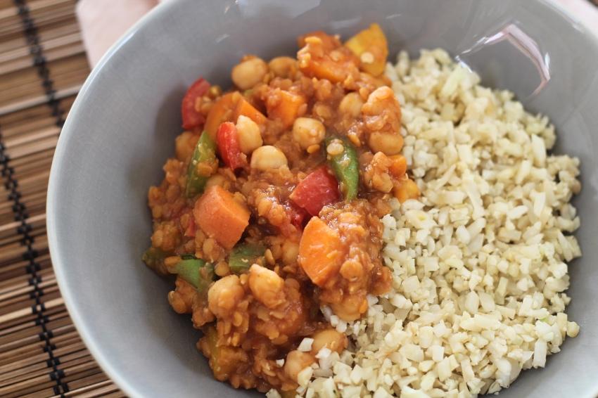 recept: linzen, kikkererwten, groente met bloemkoolrijst! - fitbeauty